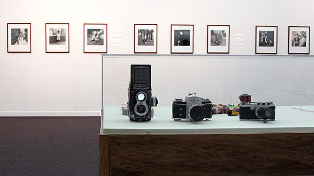 Some of Vivian Maier's cameras displayed during an exhibition at the Chicago Cultural Center